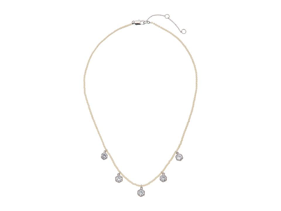 LAUREN Ralph Lauren - Headlines 16 in Hexagon Frontal Necklace (Silver/Pearl/Crystal) Necklace