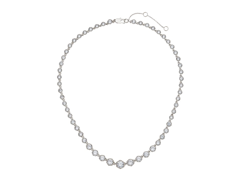 LAUREN Ralph Lauren - Headlines 16 in Hexagon Collar Necklace (Silver/Crystal) Necklace