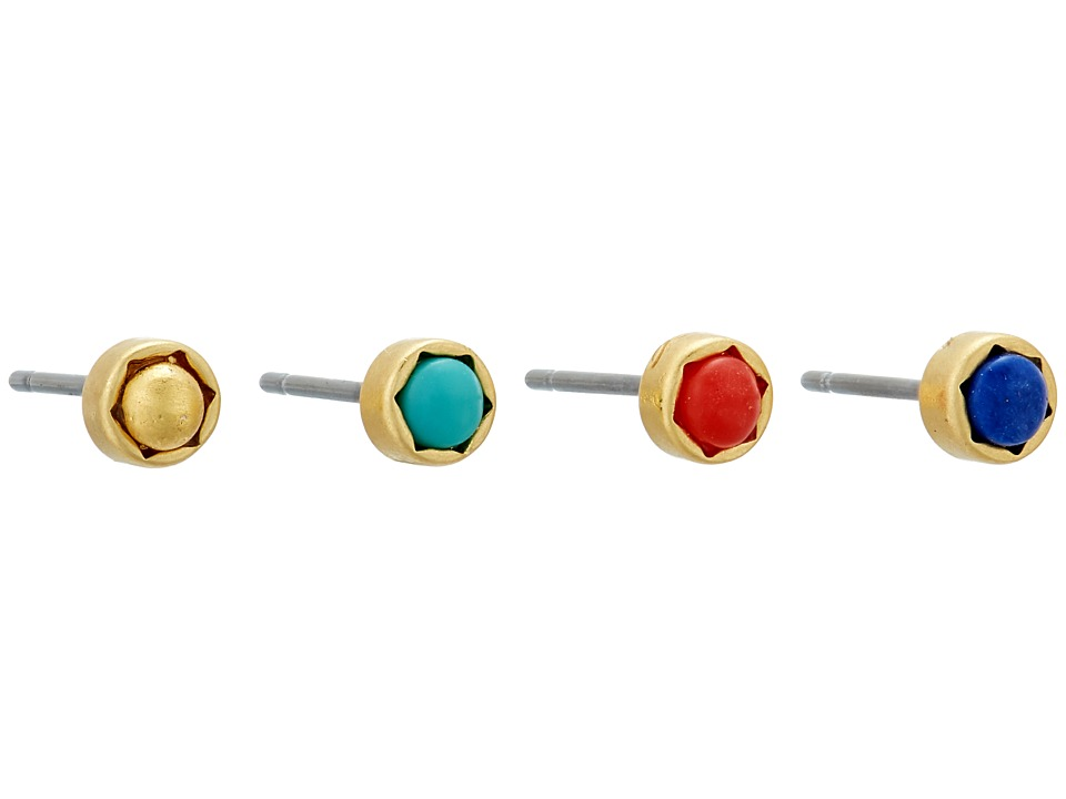 LAUREN Ralph Lauren - Pop Style Mini 4 Stud Earrings Set (Gold/Multi) Earring