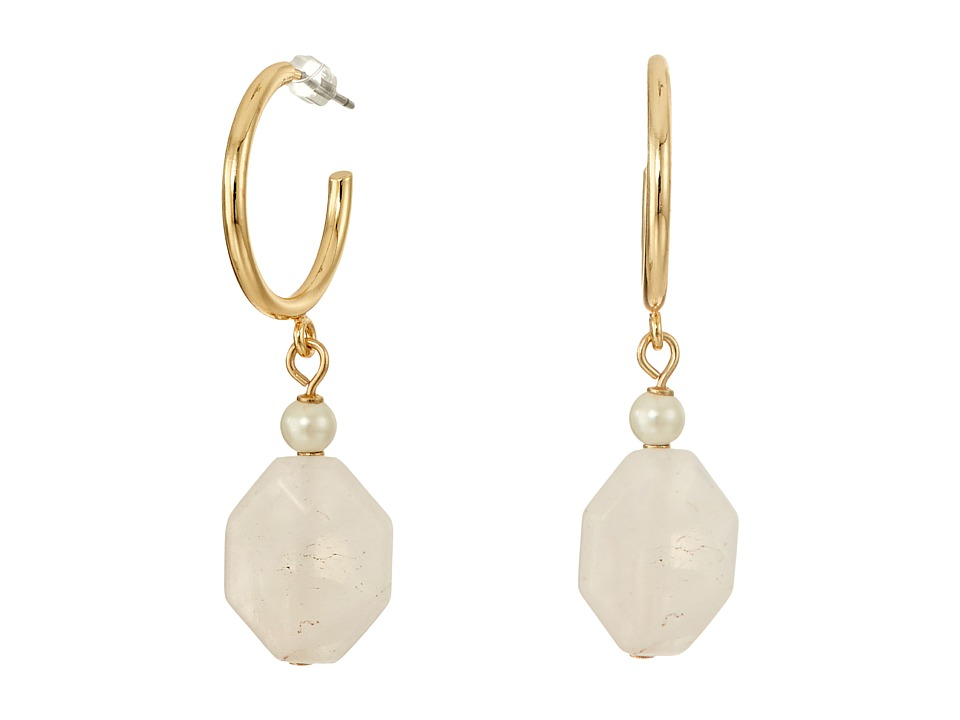 LAUREN Ralph Lauren - Two Dozen Roses Hoop with Stone Drop Earrings (Gold/Pink/Pearl) Earring