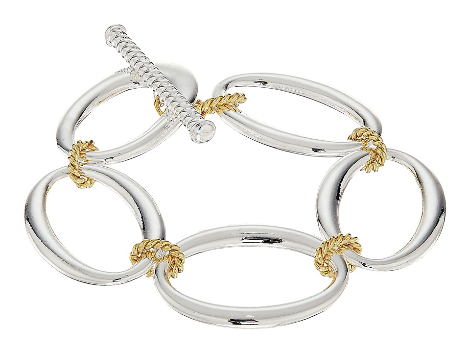 LAUREN Ralph Lauren - Perfect Pieces Linear Large Oval Links Bracelet (Silver/Gold) Bracelet