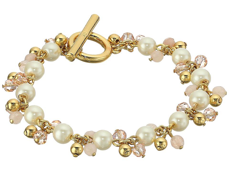 LAUREN Ralph Lauren - Two Dozen Roses 7.5 in Beaded Link Bracelet (Gold/Pink/Pearl) Bracelet
