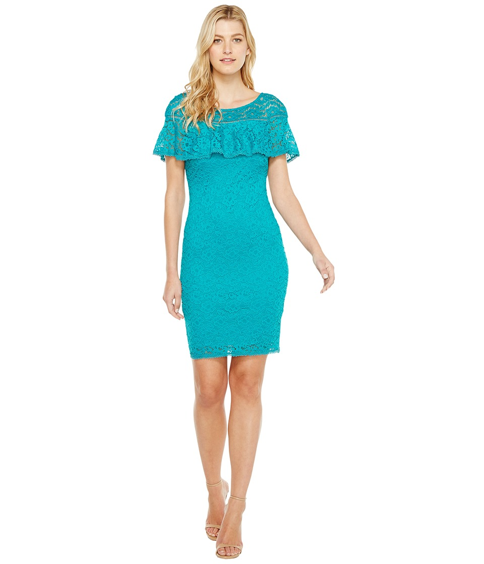 Laundry by Shelli Segal Stretch Lace Dress (Tropical Green) Women