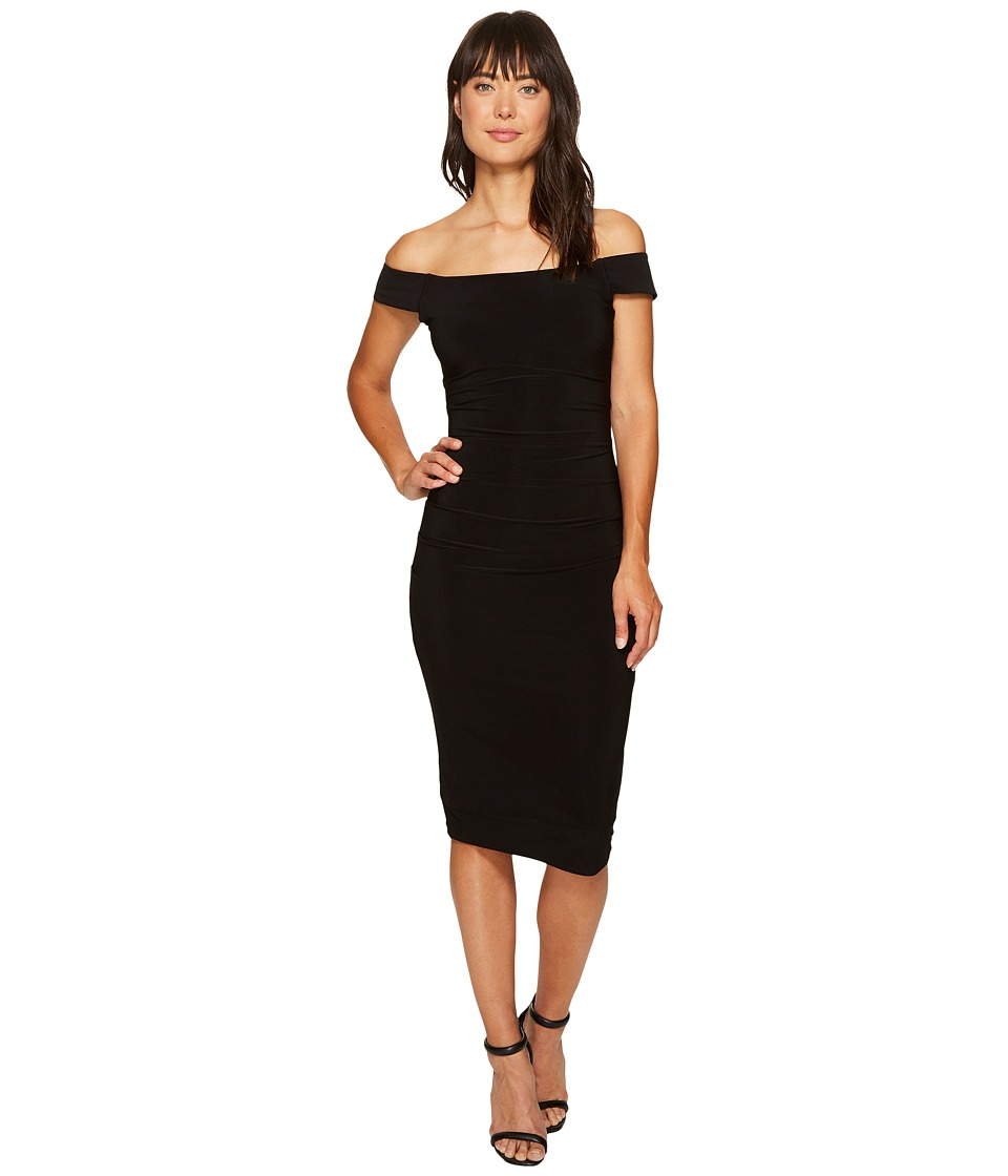 Laundry by Shelli Segal - Off the Shoulder Curve Control Dress (Black) Women's Dress