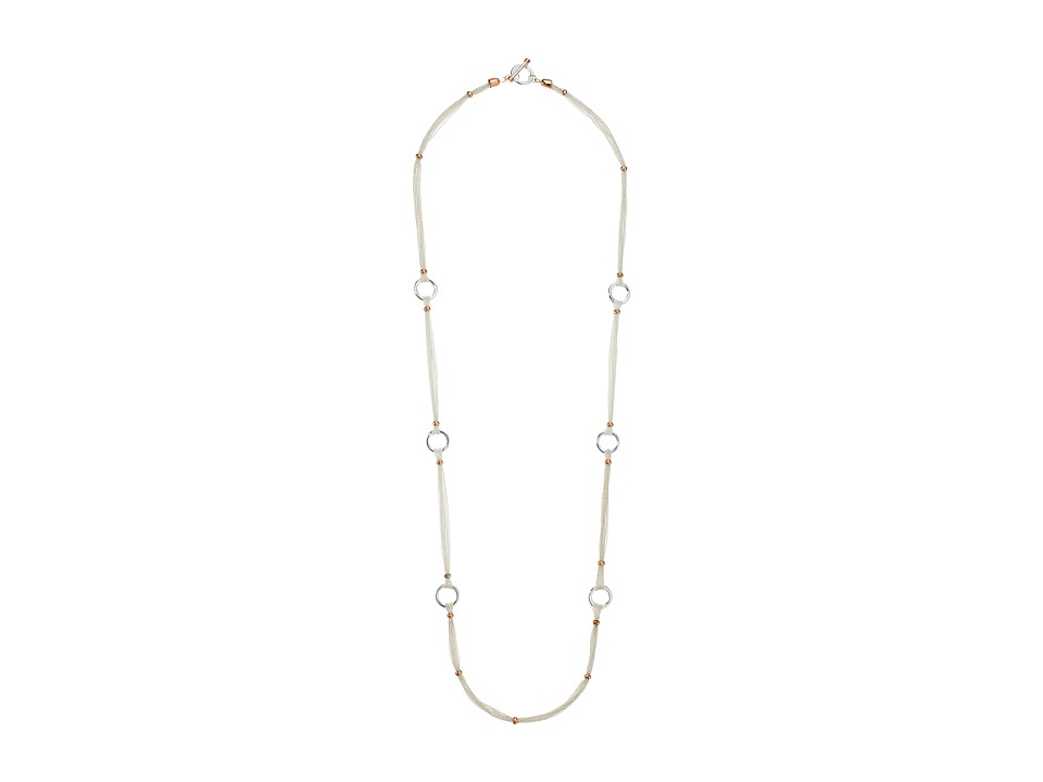 LAUREN Ralph Lauren - Stereo Hearts 36 in Fine Chain with Ring Necklace (Silver/Rose Gold) Necklace