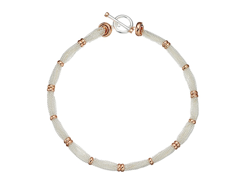 LAUREN Ralph Lauren - Stereo Hearts 18 in Fine Chain Ring Necklace (Silver/Rose Gold) Necklace