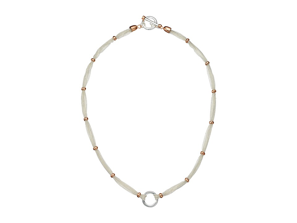 LAUREN Ralph Lauren - Stereo Hearts 18 in Fine Chain Rondelle Necklace (Silver/Rose Gold) Necklace