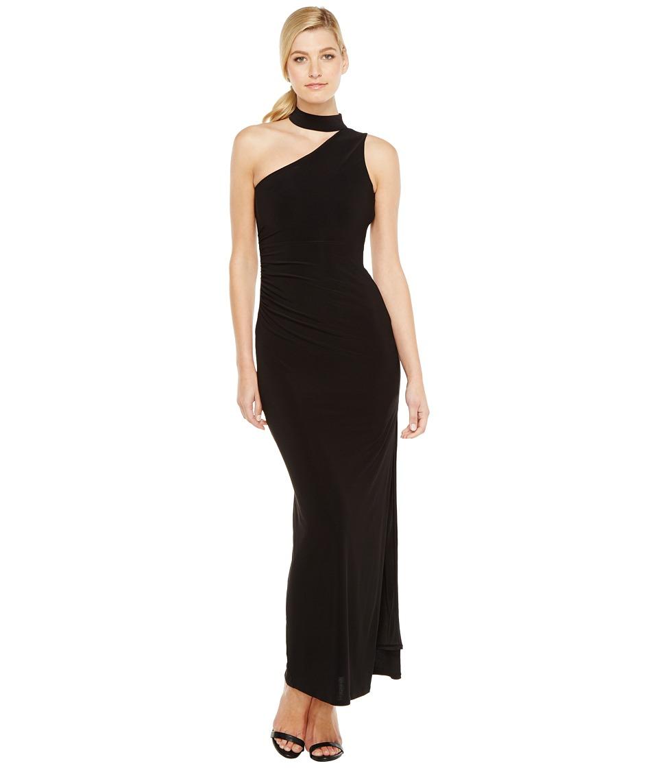 Laundry by Shelli Segal One Shoulder Mock Neck Gown (Black) Women