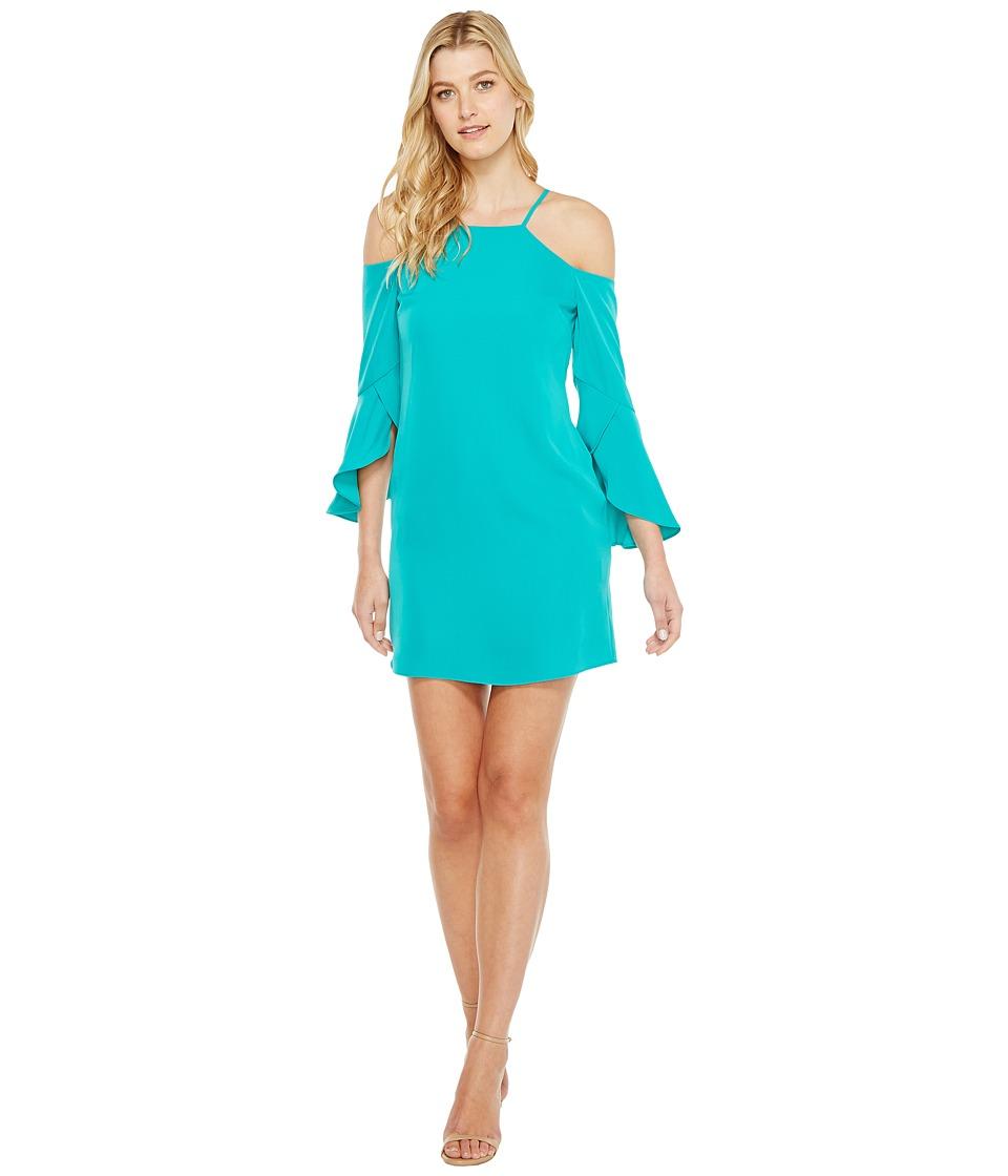 Laundry by Shelli Segal - Crisscross Flutter Sleeve Cold Shoulder Cocktail Dress (Tropical Green) Women's Dress
