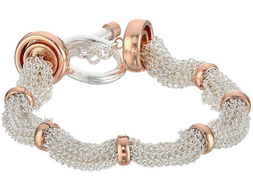 LAUREN Ralph Lauren - Stereo Hearts 7.5 in Fine Chain Ring Bracelet (Silver/Rose Gold) Bracelet