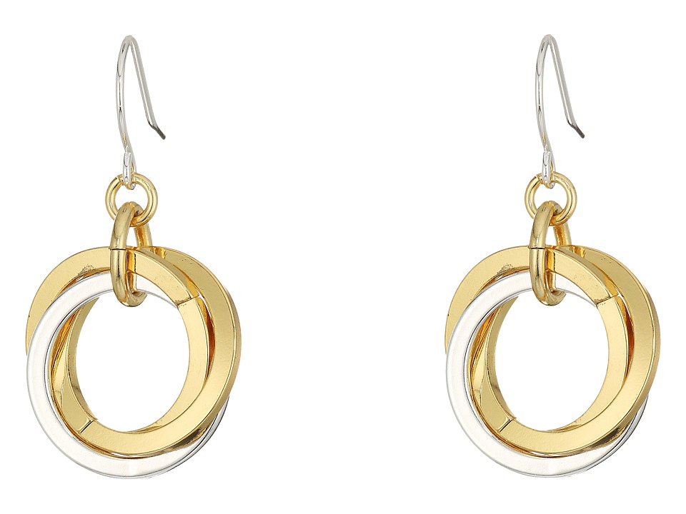 LAUREN Ralph Lauren - Stereo Hearts Small Interlock Links Drop Earrings (Silver/Gold) Earring