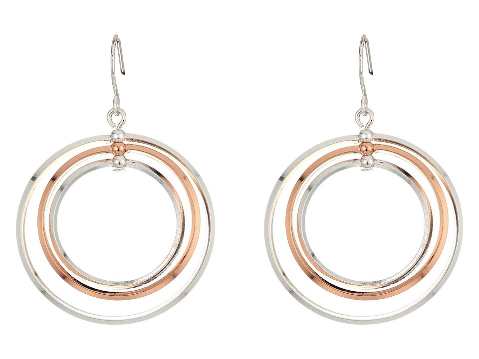 LAUREN Ralph Lauren - Stereo Hearts Small Round Bevel 4 Ring Gypsy Hoop Earrings (Silver/Rose Gold) Earring