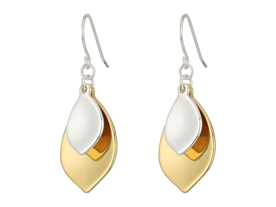LAUREN Ralph Lauren - Stereo Hearts Hammered Teardrop Double Drop Earrings (Silver/Gold) Earring