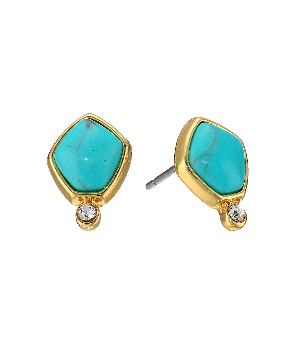 LAUREN Ralph Lauren - Turquoise and Caicos Stone Stud Earrings (Gold/Turquoise) Earring