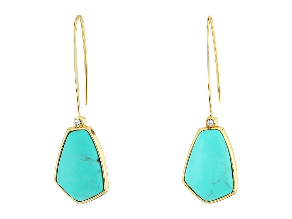 LAUREN Ralph Lauren - Turquoise and Caicos Elongated Wire with Stone Drop Earrings (Gold/Turquoise) Earring