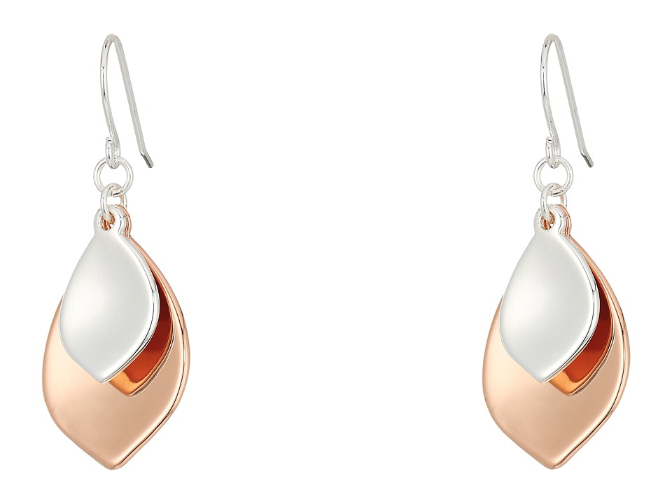 LAUREN Ralph Lauren - Stereo Hearts Hammered Teardrop Double Drop Earrings (Silver/Rose Gold) Earring