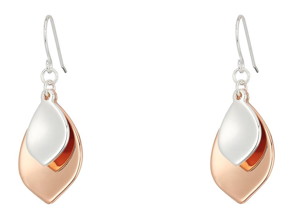 LAUREN Ralph Lauren - Stereo Hearts Hammered Teardrop Double Drop Earrings (Silver/Rose Gold) Earring