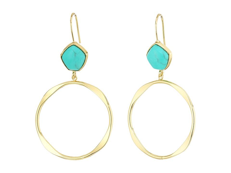 LAUREN Ralph Lauren - Turquoise and Caicos Gypsy Hoop Earrings (Gold/Turquoise) Earring