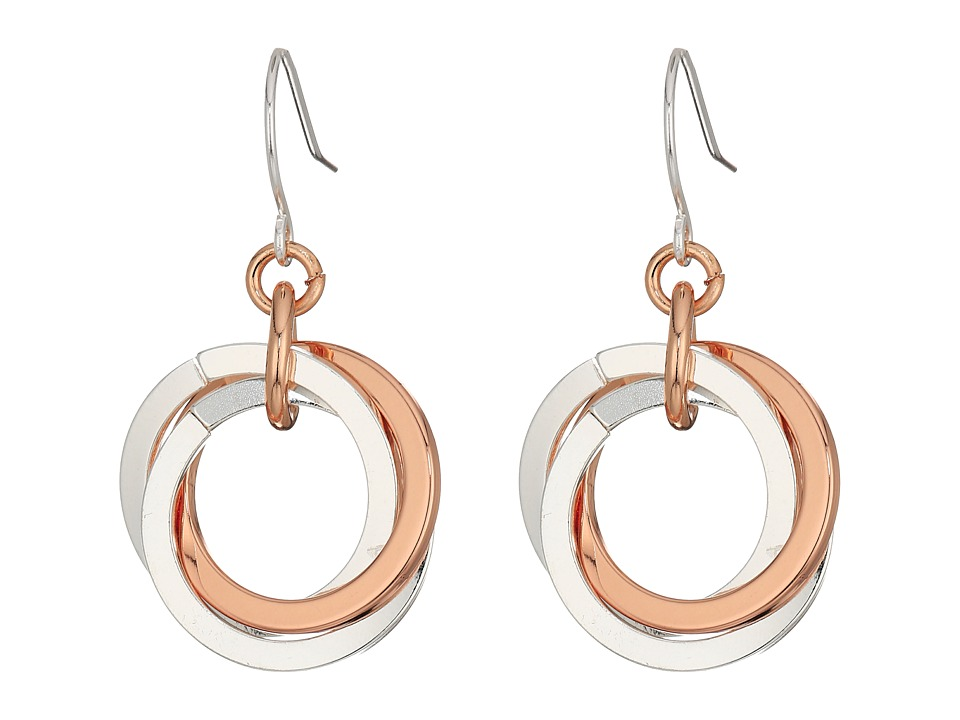 LAUREN Ralph Lauren - Stereo Hearts Small Interlock Links Drop Earrings (Silver/Rose Gold) Earring