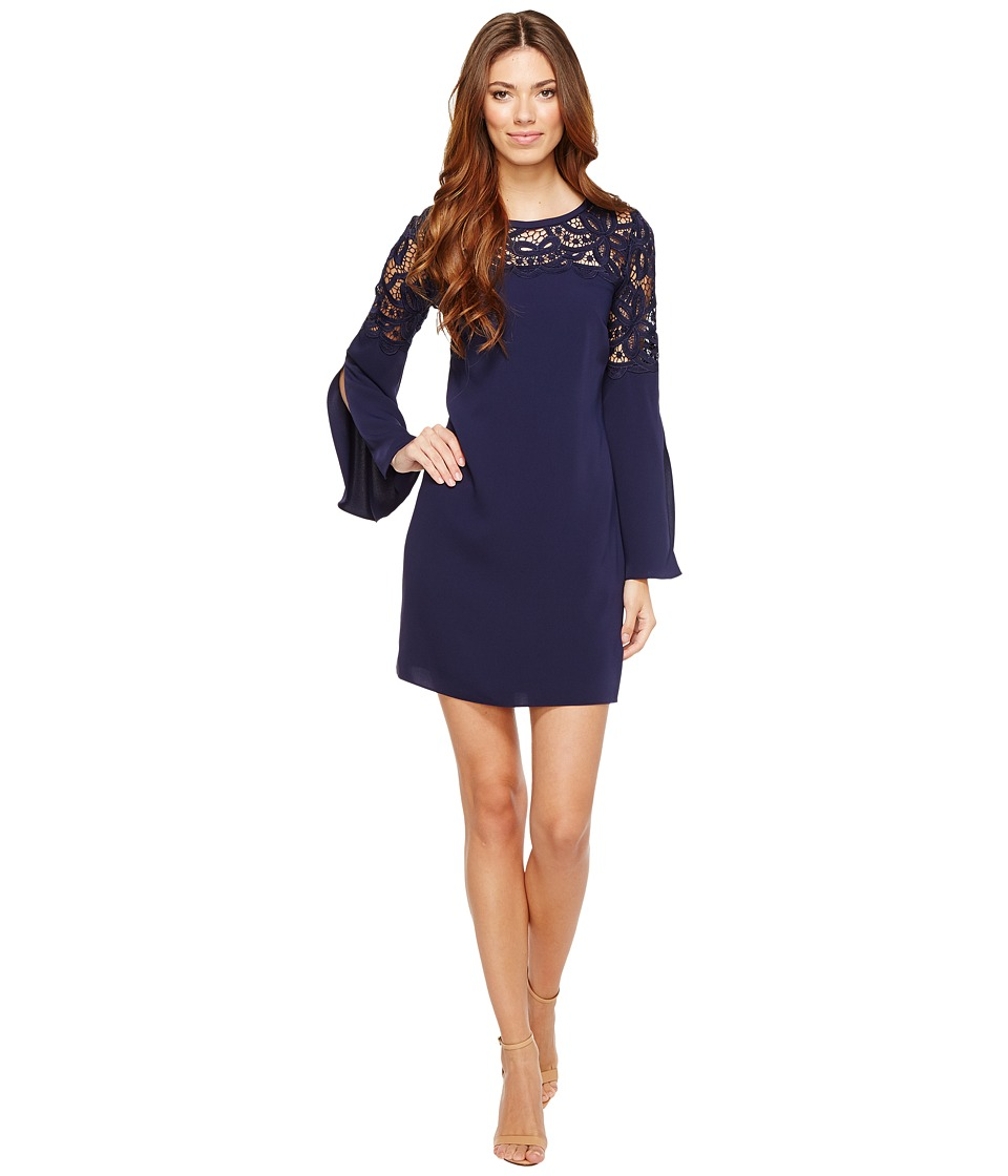Laundry by Shelli Segal Crepe Dress with Lace Detail (Inkblot) Women