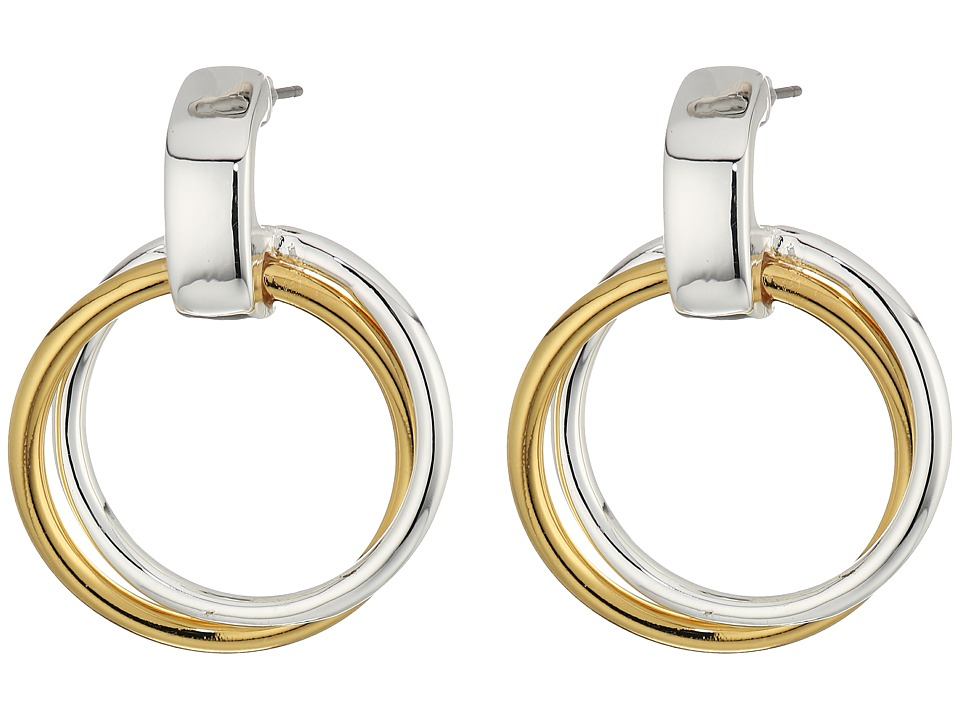 LAUREN Ralph Lauren - Stereo Hearts Small Double Link Doorknocker Earrings (Silver/Gold) Earring