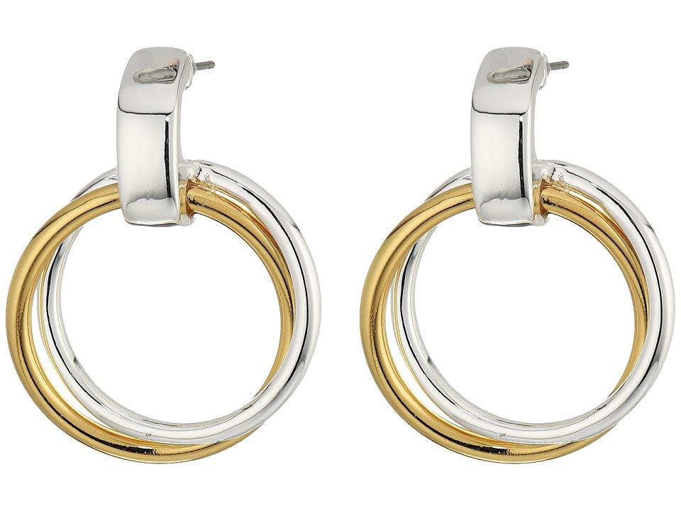 LAUREN Ralph Lauren - Stereo Hearts Small Double Link Doorknocker Earrings (Silver/Gold) Earring