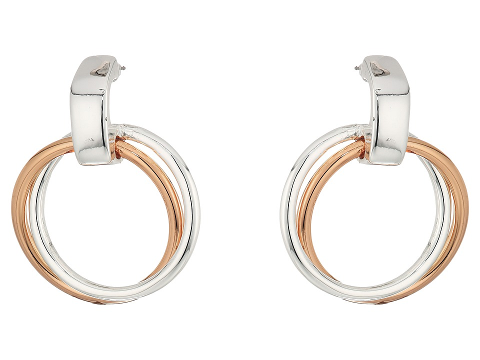 LAUREN Ralph Lauren - Stereo Hearts Small Double Link Doorknocker Earrings (Silver/Rose Gold) Earring