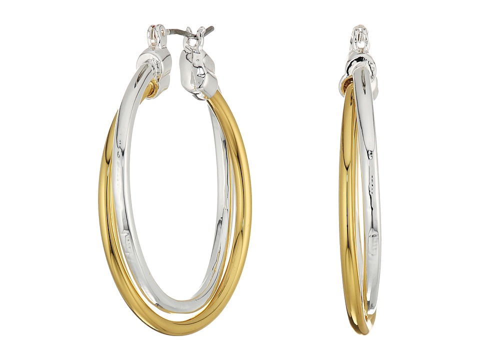 LAUREN Ralph Lauren - Stereo Hearts Large Double Link Hoop Earrings (Silver/Gold) Earring