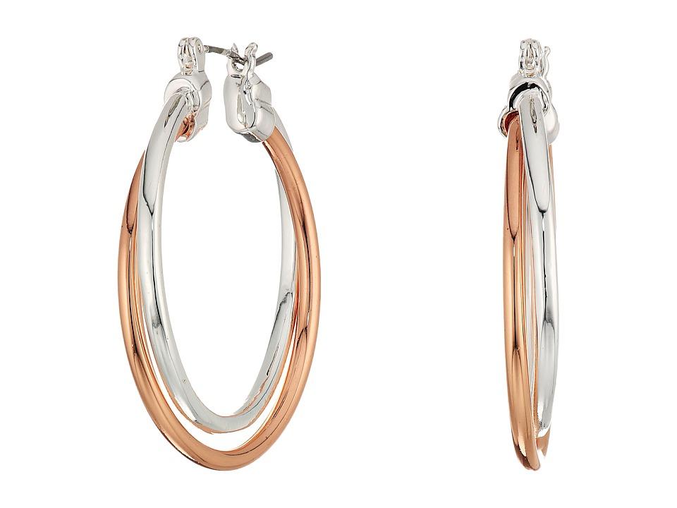 LAUREN Ralph Lauren - Stereo Hearts Large Double Link Hoop Earrings (Silver/Rose Gold) Earring