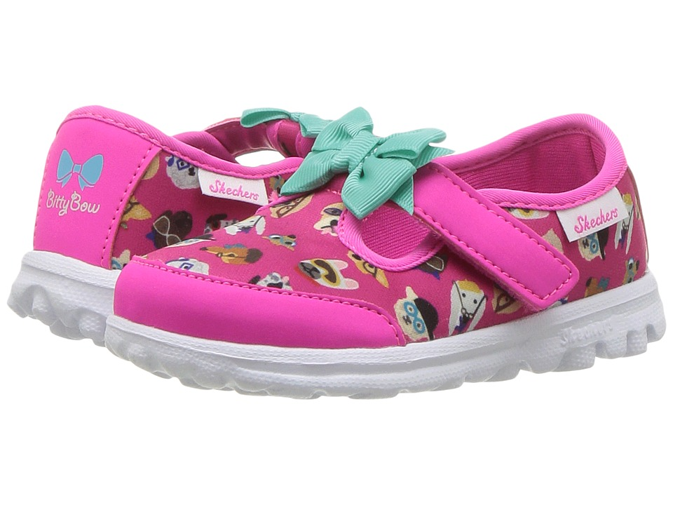 SKECHERS KIDS - Go Walk Bow Wow 81141N (Infant/Toddler/Little Kid) (Hot Pink/Multi) Girl's Shoes