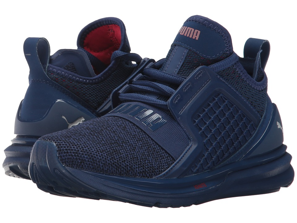 Puma Kids IGNITE Limitless Knit (Big Kid) (Blue Depths/Toreador) Boys Shoes