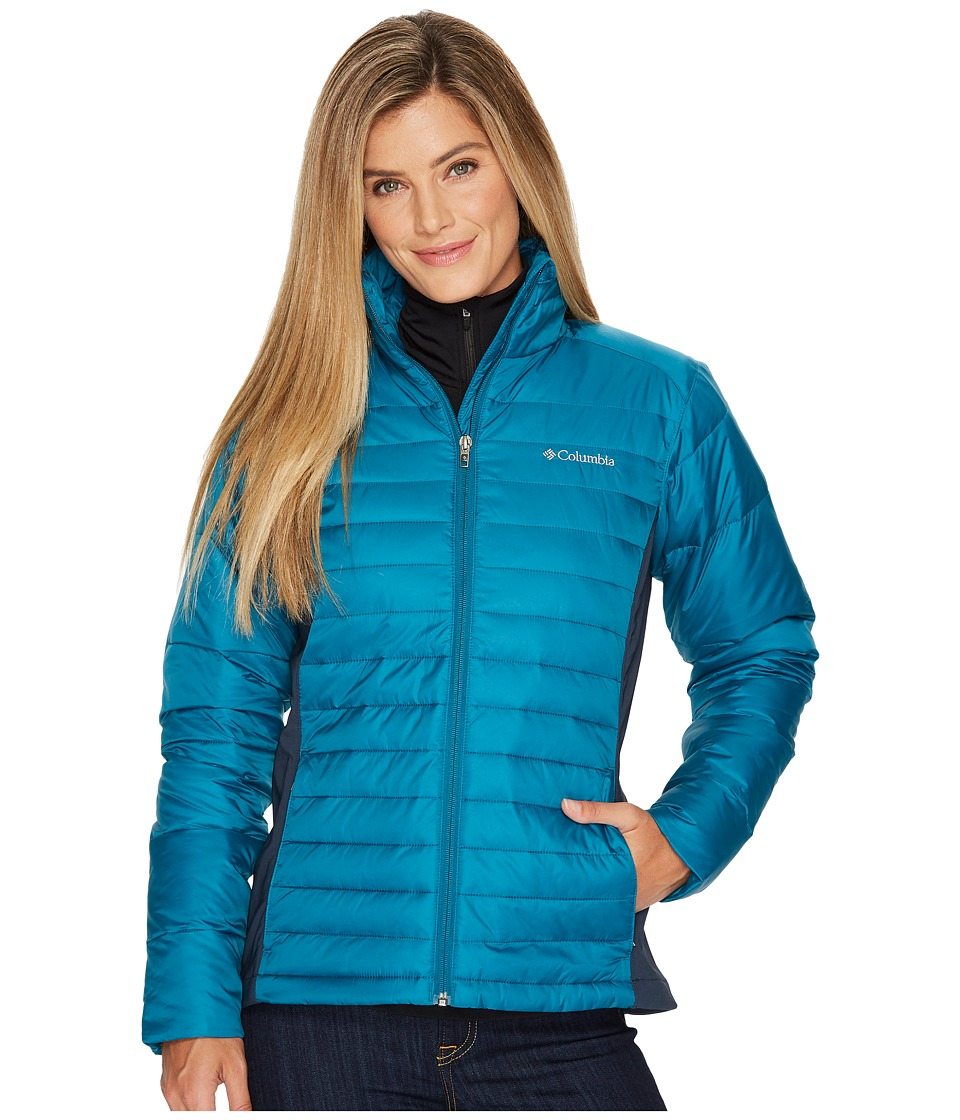 Columbia - Powder Pillowtm Hybrid Jacket (Aegean Blue/Night Shadow) Women's Coat