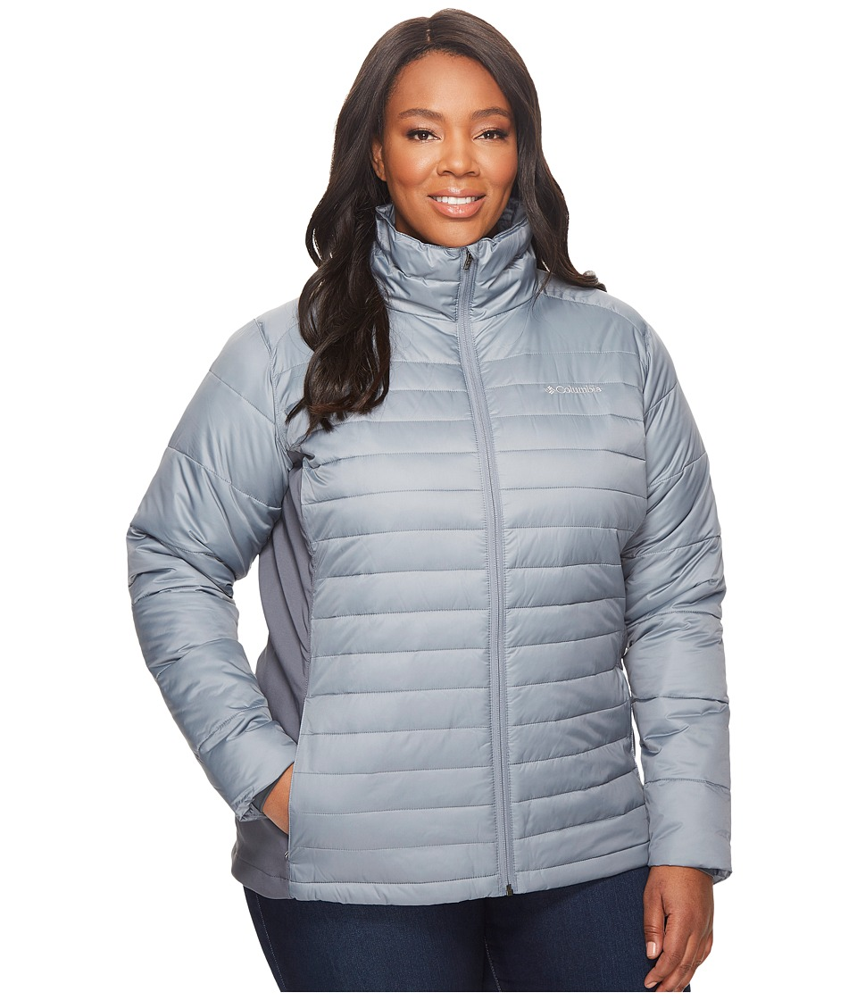 Columbia - Plus Size Powder Pillow Hybrid Jacket (Grey Ash/Graphite) Women's Coat