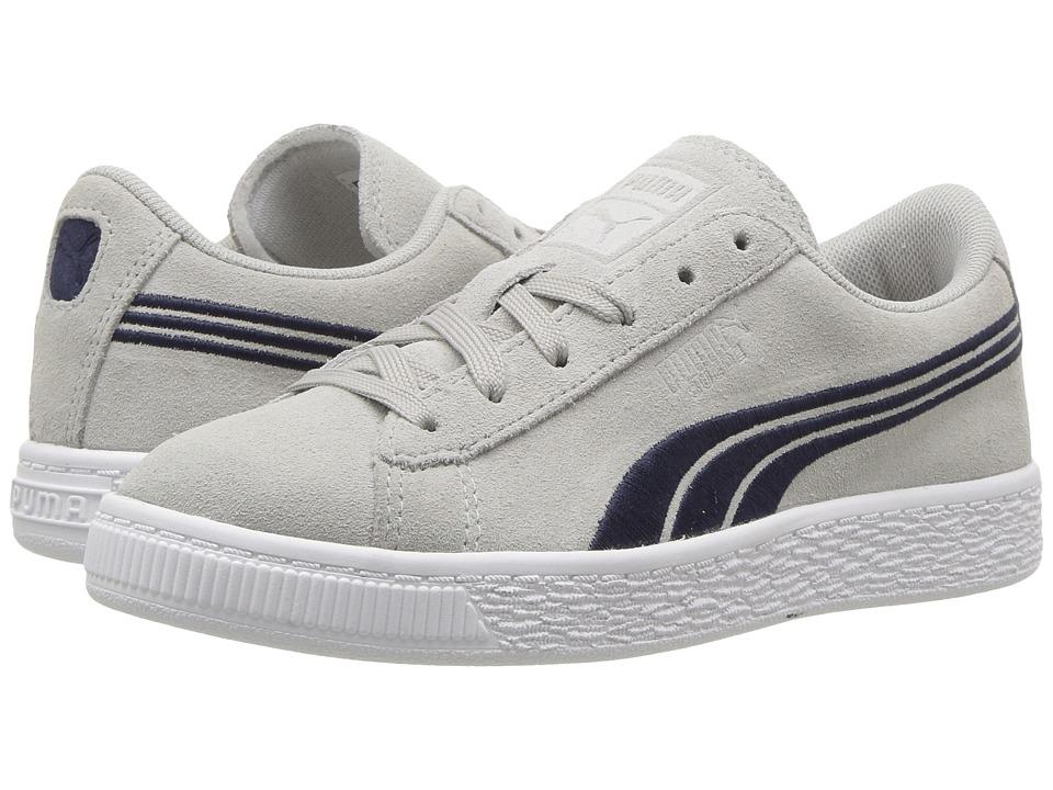 Puma Kids Suede Classic Badge (Little Kid/Big Kid) (Gray Violet/Peacoat) Boys Shoes