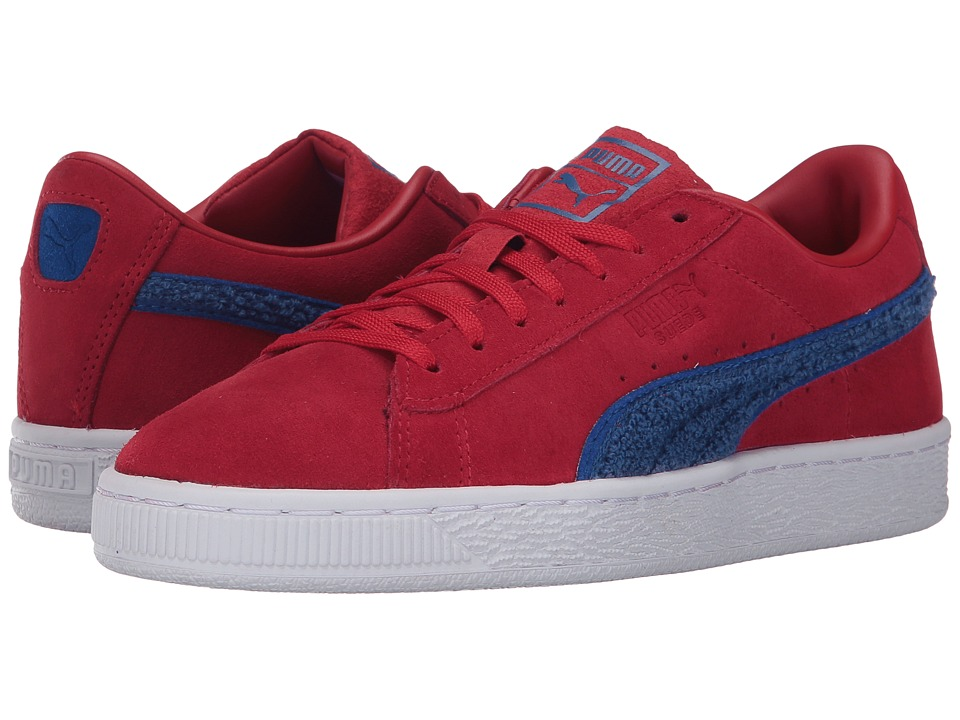 Puma Kids Suede Classic Terry (Big Kid) (Toreador/Lapis Blue) Boys Shoes