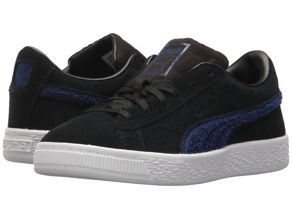 Puma Kids Suede Classic Terry (Little Kid/Big Kid) (Puma Black/Blue Depths) Boys Shoes