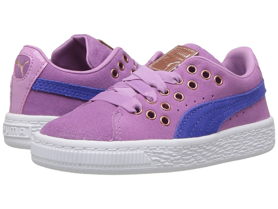 Puma Kids Suede XL Lace VR (Toddler) (Smoky Grape/Baja Blue) Girls Shoes