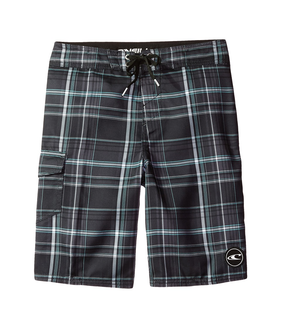 O'Neill Kids - Santa Cruz Plaid Boardshorts (Little Kids) (Black) Boy's Swimwear
