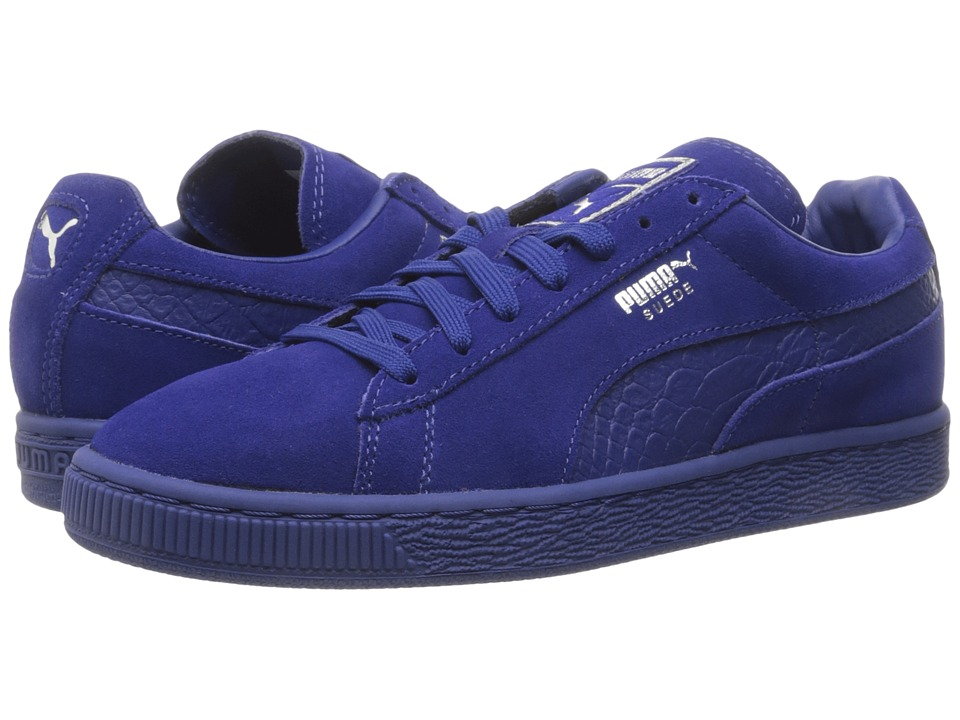 PUMA - Suede Classic Mono Reptile (Mazarine Blue/Puma Silver) Men's Lace up casual Shoes