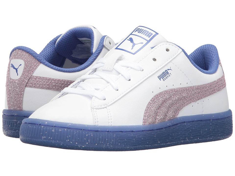 Puma Kids - Basket Iced Glitter 2 (Little Kid/Big Kid) (Puma White/Smoky Grape) Girls Shoes