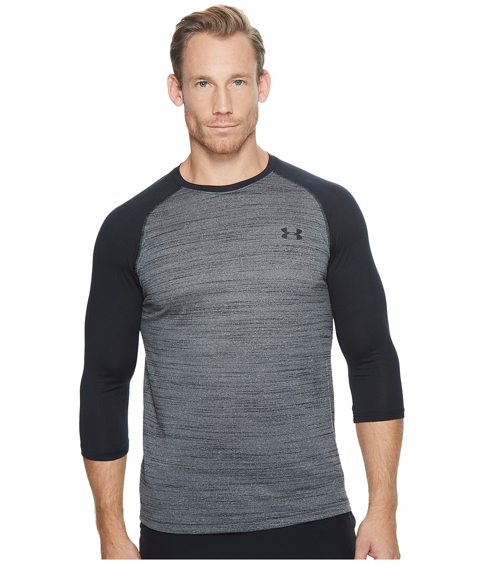 Under Armour - Tech 3/4 Sleeve (Black/#/Black) Men's Clothing
