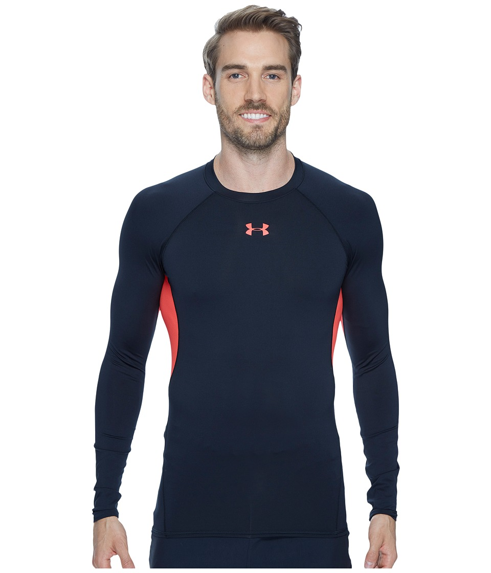 Under Armour - Armour(r) Heatgear(r) L/S Compression (Anthracite/#/Marathon Red) Men's Long Sleeve Pullover