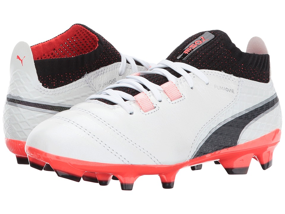 Puma Kids - ONE 17.1 FG (Little Kid/Big Kid) (Puma White/Puma Black/Fiery Coral) Kids Shoes