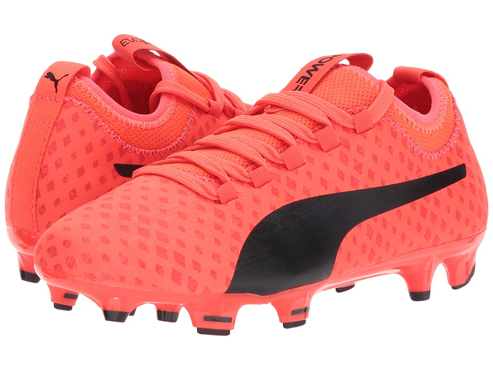 Puma Kids evoPOWER Vigor 3D 3 FG (Little Kid/Big Kid) (Fiery Coral/Puma Black/Toreador) Kids Shoes