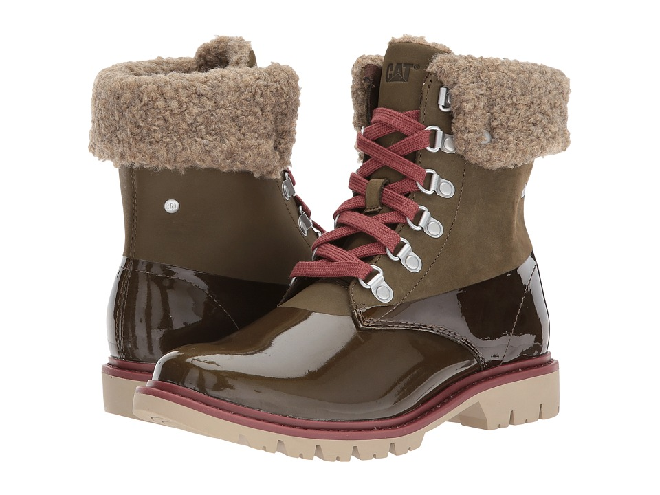 Caterpillar Casual Hub Hiker Fur Dark Olive Womens Laceup Boots
