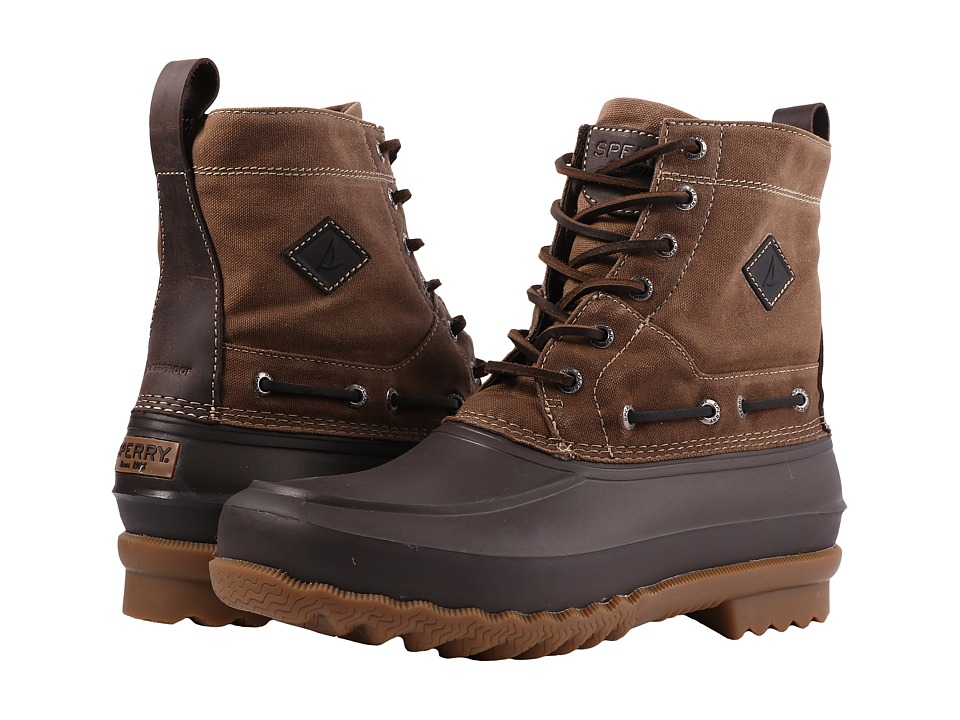 Sperry Decoy Boot Waxed Canvas Waterproof (Dark Brown) Men