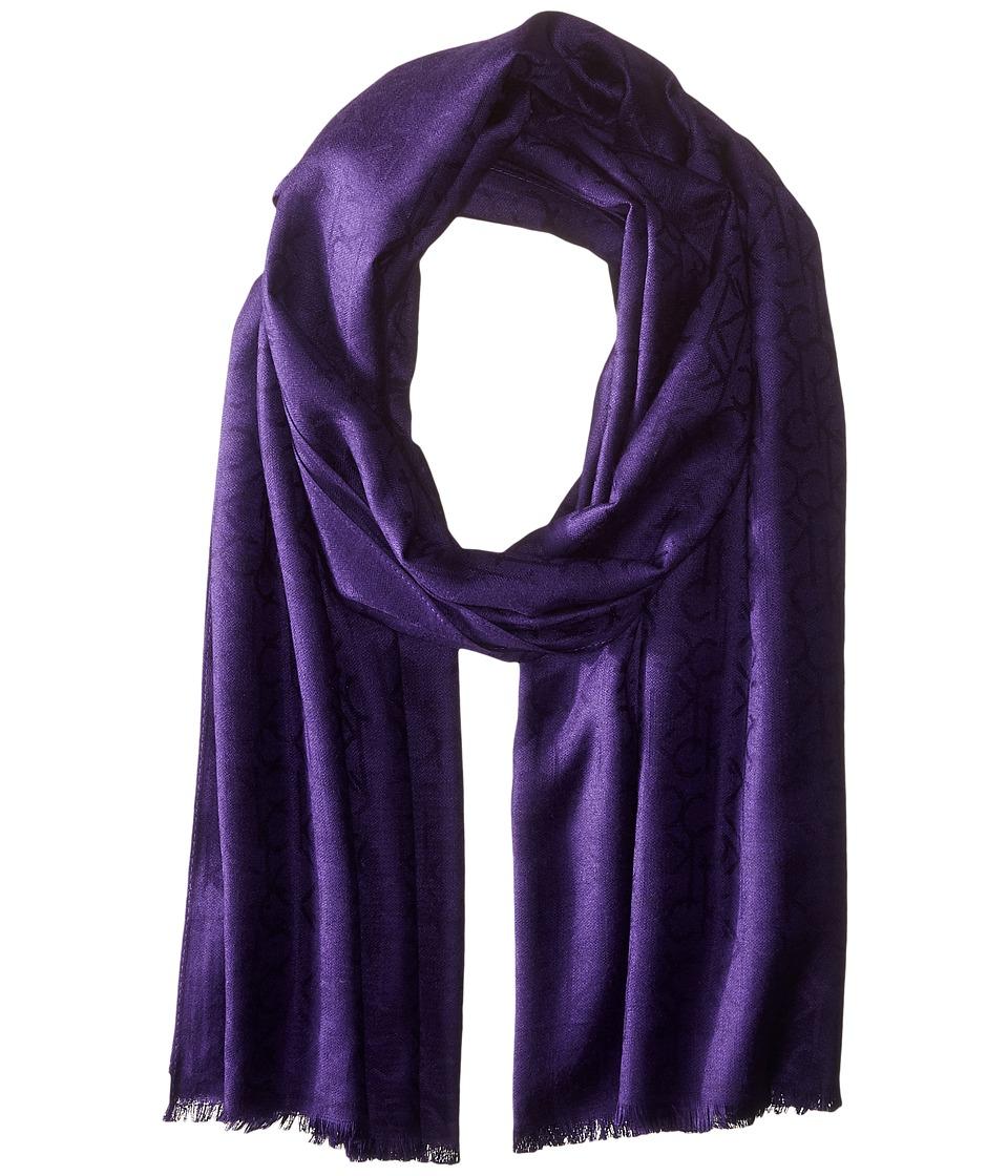 Calvin Klein - CK Logo Pashmina (Dark Purple) Scarves