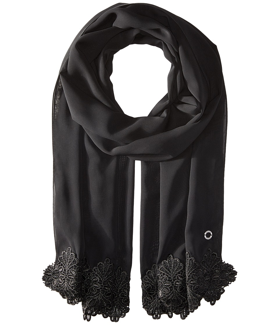 Calvin Klein - Chiffon Lace Trim Scarf (Black) Scarves