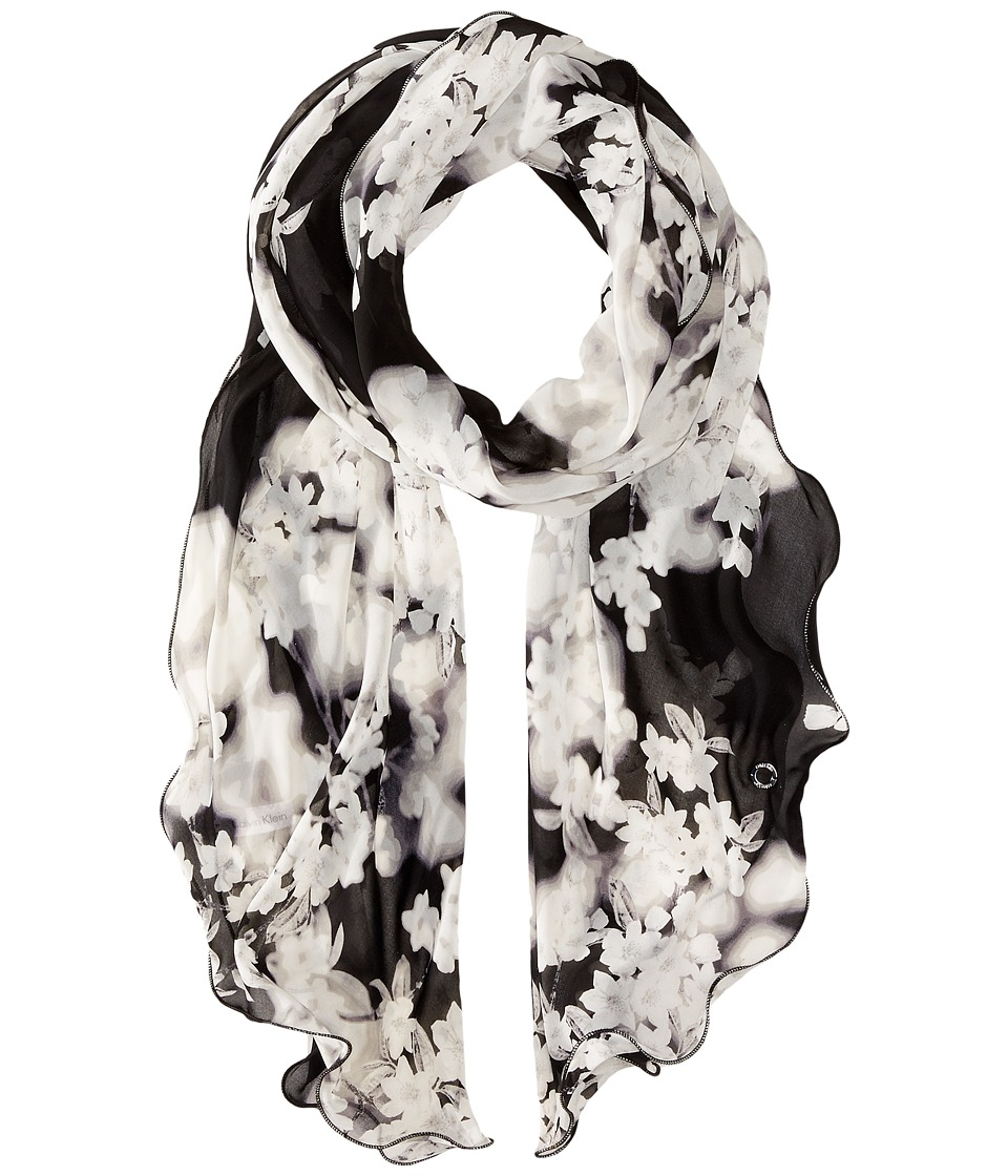 Calvin Klein - Tonal Floral Ruffle Scarf (Black/Heather Grey) Scarves