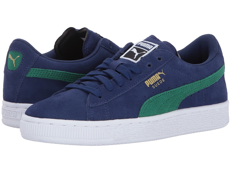Puma Kids Suede Jr (Big Kid) (Blue Depths/Verdant Green) Boys Shoes